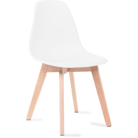 Sedie da pranzo bianche, sedie tulip con schienale ergonomico in polipropilene e gambe in legno, design scandinavo, pack da 6 sedie