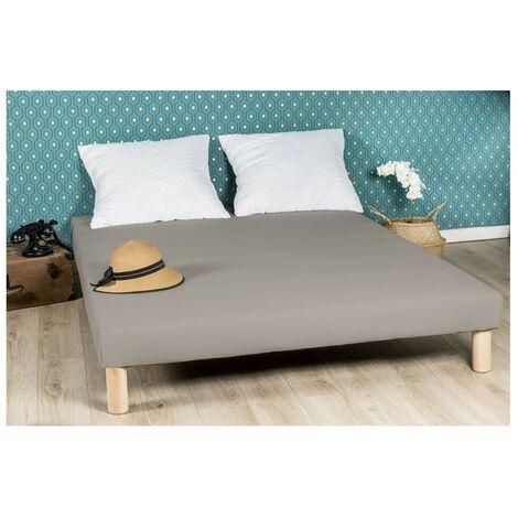 Sommier tapissier 130x190cm gris fabrique en france