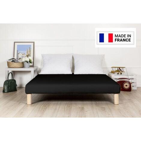 Sommier tapissier 130x190cm noir fabrique france