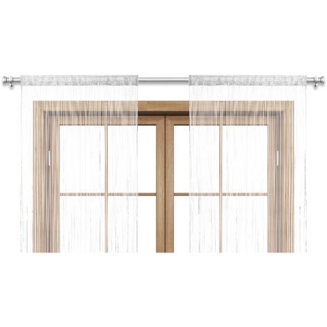 2er Set Vorhang Fadenvorhang Türvorhang Gardine schwarz weiß grau pink grün lila