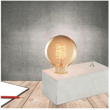 Lampe à poser rectangulaire en béton - L 20 x l 9,5 x H 9 cm - Gris - Livraison gratuite