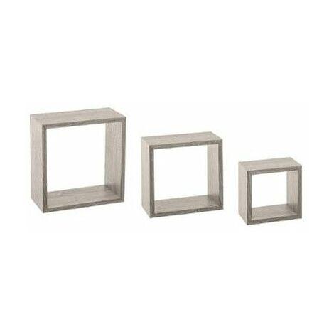 Lot de 3 petites étagères Fixy cube chêne - Tailles différentes - Gris - Livraison gratuite