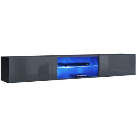 Banc TV mural Switch RTV 3 - L 180 x P 40 x H 30 cm - Gris - Livraison gratuite