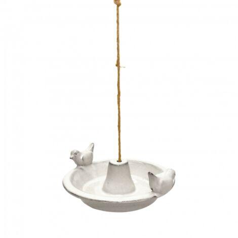 Bain oiseau en céramique à suspendre - L 27,6 cm x l 30 cm x H 10,2 cm - Blanc - Livraison gratuite