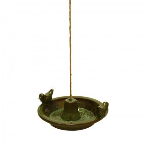 Bain oiseau en céramique à suspendre - L 27,6 cm x l 30 cm x H 10,2 cm - Vert - Livraison gratuite