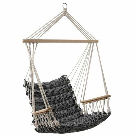 Chaise de détente suspendue - Jinja - L 65 cm x l 90 cm - Noir et blanc - Livraison gratuite