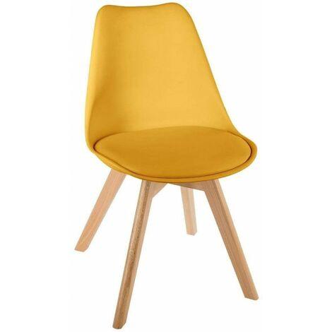 Chaise scandinave - Baya - L 48 cm x l 55 cm x H 81 cm - Jaune - Livraison gratuite