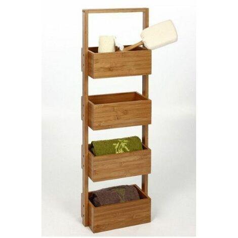 Meuble étagère 4 cases en bambou - Rangement salle de bain - Livraison gratuite