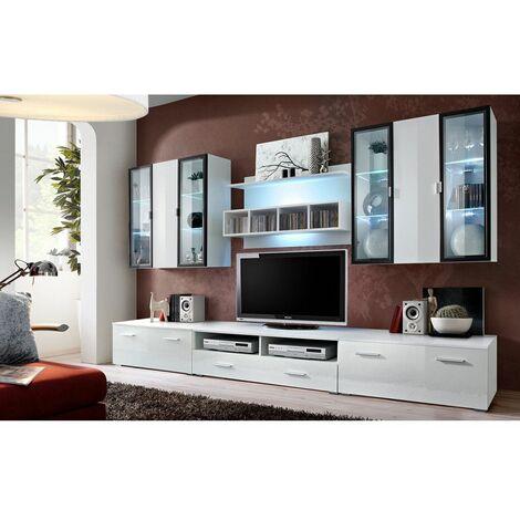 Ensemble meuble TV mural - Quadro - L 120 cm - 5 élements - Blanc - Livraison gratuite