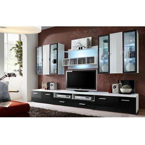 Ensemble meuble TV mural - Quadro - L 120 cm - 5 élements - Blanc et noir - Livraison gratuite