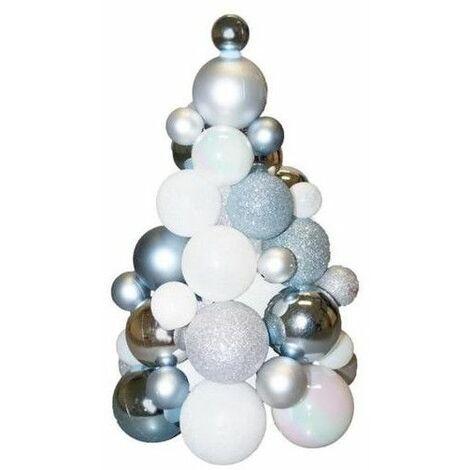 Sapin en boules de Noël   H 30 cm   Blanc et argent   Décoration