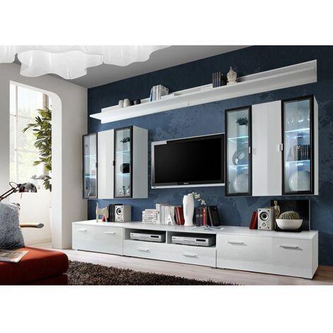 Ensemble meuble TV mural - Iceland - L 120 cm - 5 élements - Blanc - Livraison gratuite