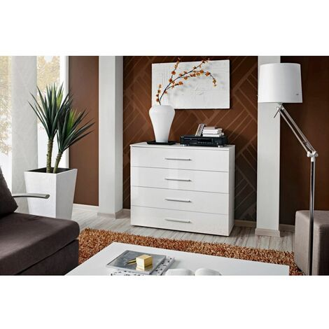 Commode - Go III- 100 cm x 83 cm x 40 cm - Blanc brillant - Livraison gratuite