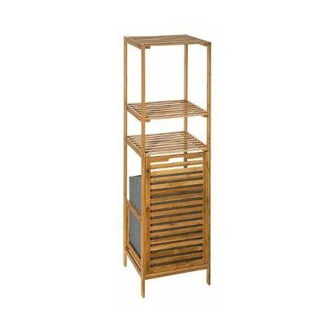 Etagère 2 niveaux avec panier à linge - L 35 x L 32x H 118 cm - Bambou - Livraison gratuite