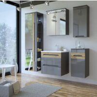 Colonne de salle de bain Galaxy Grey - 45 x 33 x 170 cm - Grande armoire murale avec miroir - Livraison gratuite