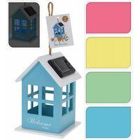 Abri oiseau avec éclairage solaire - 10 x 10 x 14,5 cm - Bleu - Livraison gratuite