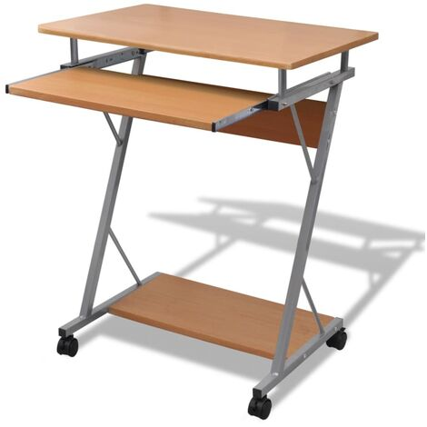 Compact Computer Desk with Pull-out Keyboard Tray Brown