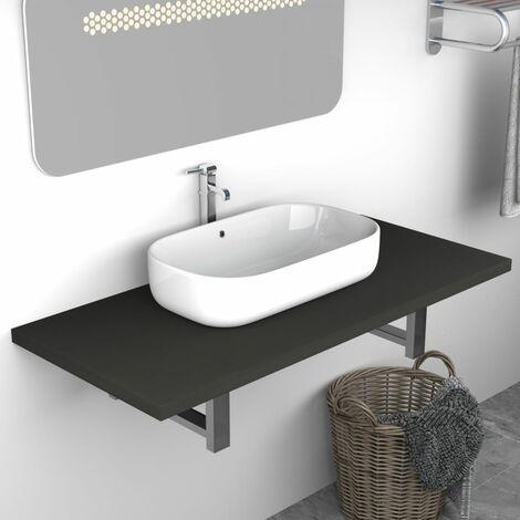 Bathroom Wall Shelf for Basin Grey 90x40x16.3 cm