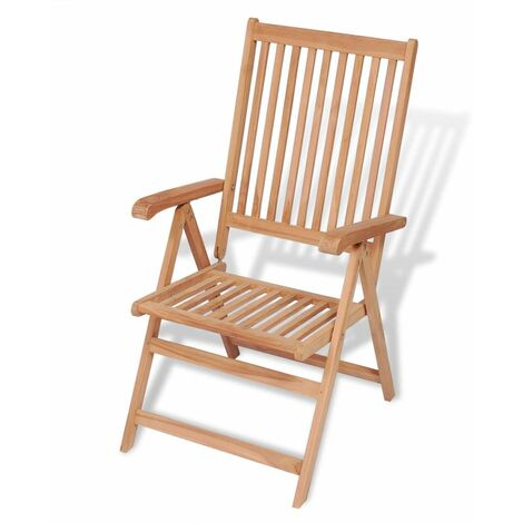 Reclining Garden Chair Solid Teak Wood