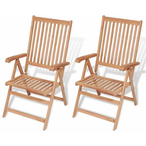 Reclining Garden Chairs 2 pcs Solid Teak Wood