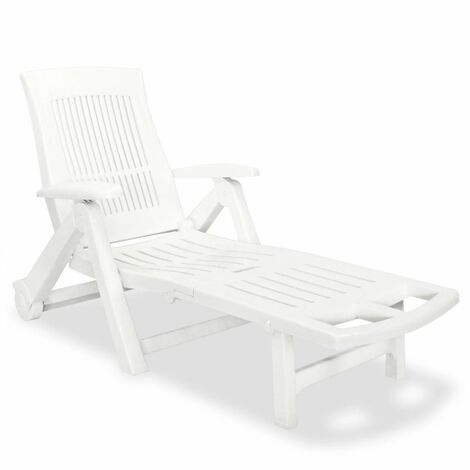 Sun Lounger with Footrest Plastic White