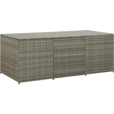 Garden Storage Box Poly Rattan 180x90x75 cm Grey