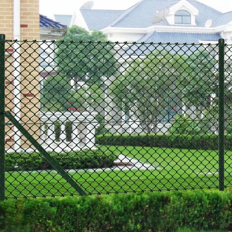 vidaXL Outdoor Chain-Link Fence Set Mesh with Spike Anchors 1.97x15 m Green