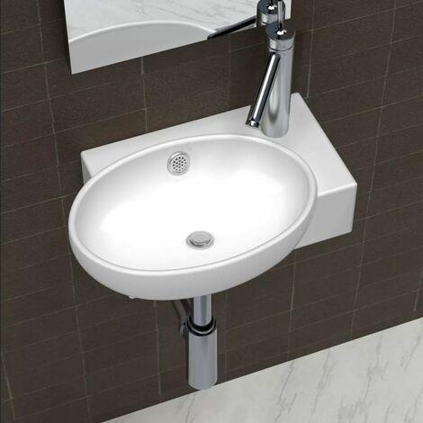 Ceramic Sink Basin Faucet & Overflow Hole Bathroom White