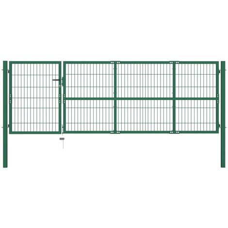 Garden Fence Gate with Posts 350x100 cm Steel Green