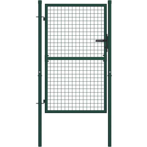 Fence Gate Steel 100x125 cm Green