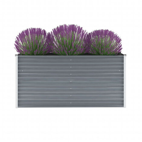 Garden Planter Galvanised Steel 160x40x77 cm Grey