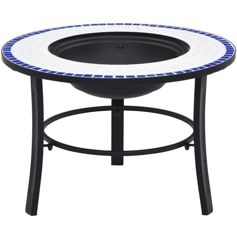 Mosaic Fire Pit Blue and White 68cm Ceramic