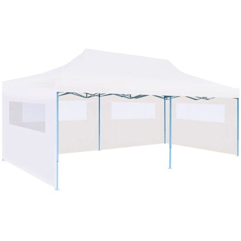 Folding Pop-up Partytent with Sidewalls 3x6 m Steel White