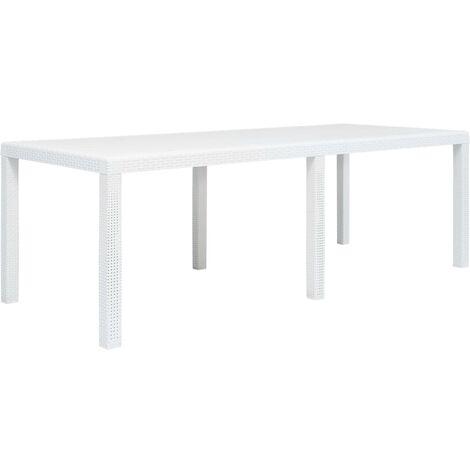 Garden Table White 220x90x72 cm Plastic Rattan Look