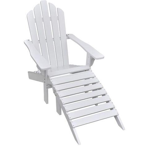 Garden Chair with Ottoman Wood White