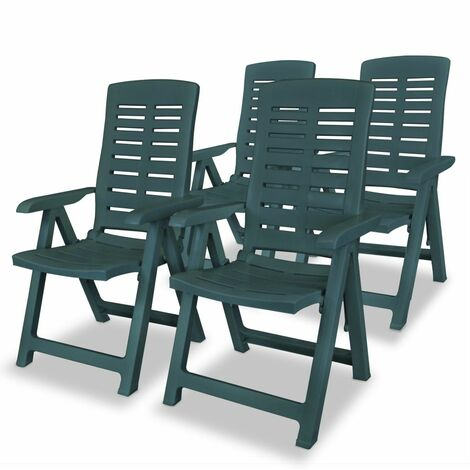 Reclining Garden Chairs 4 pcs Plastic Green