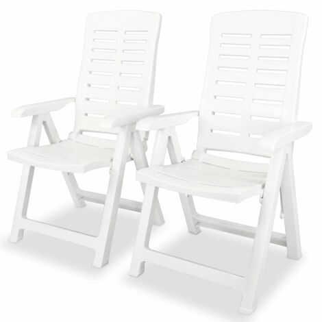 Reclining Garden Chairs 2 pcs Plastic White