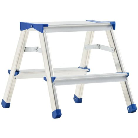 Aluminium Double-Sided Step Ladder 2 Steps 44 cm