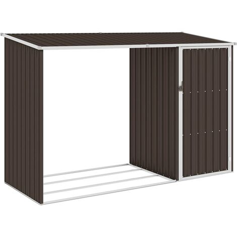 Garden Firewood Shed Brown 245x98x159 cm Galvanised Steel