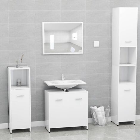 Bathroom Furniture Set White Chipboard
