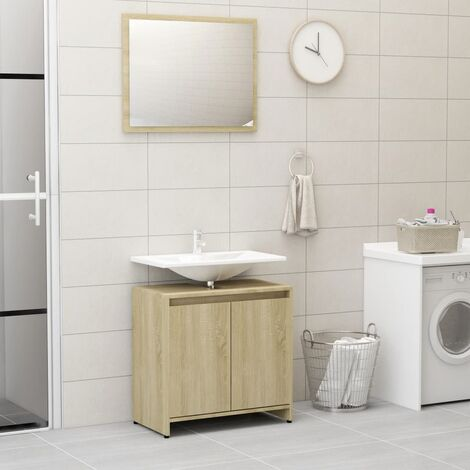 Bathroom Furniture Set Sonoma Oak Chipboard