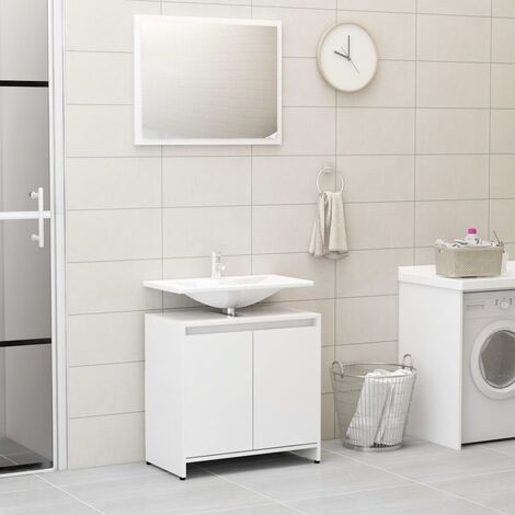 Bathroom Furniture Set High Gloss White Chipboard