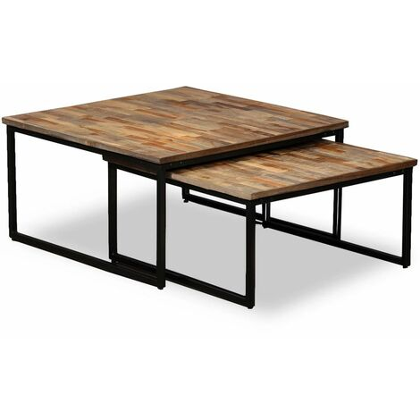 Nesting Coffee Table Set 2 Pieces Solid Reclaimed Teak
