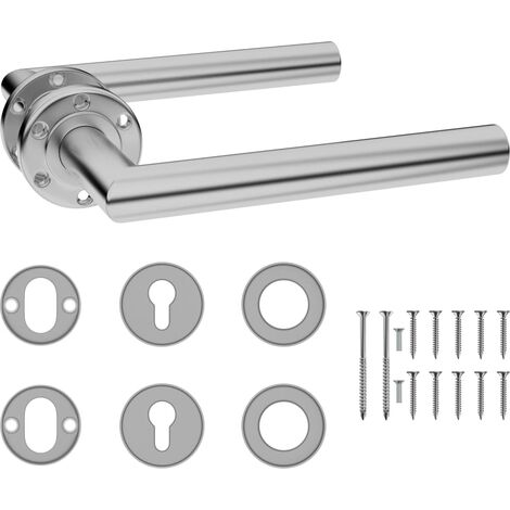 Door Handle Set with PZ Profile Cylinder Stainless Steel