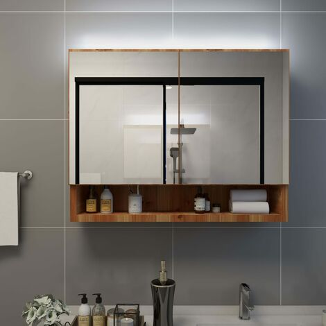 LED Bathroom Mirror Cabinet Oak 80x15x60 cm MDF