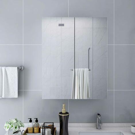 Bathroom Mirror Cabinet White 60x15x75 cm MDF