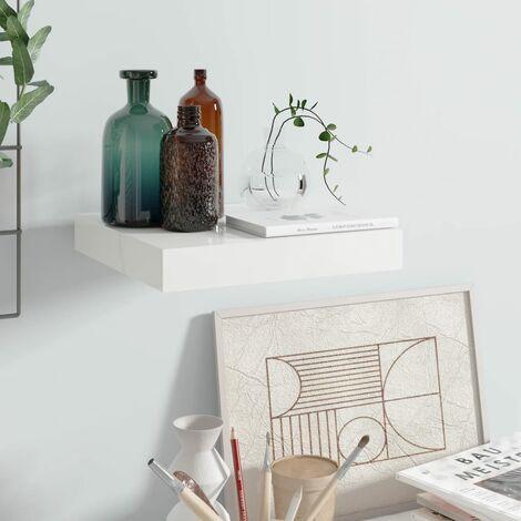 Floating Wall Shelf High Gloss White 23x23.5x3.8 cm MDF
