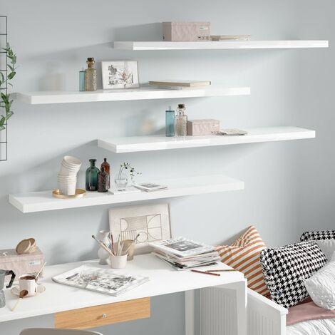Floating Wall Shelves 4 pcs High Gloss White 120x23.5x3.8 cm MDF