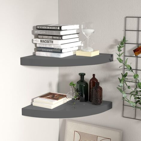 Floating Corner Shelves 2 pcs High Gloss Grey 35x35x3.8 cm MDF