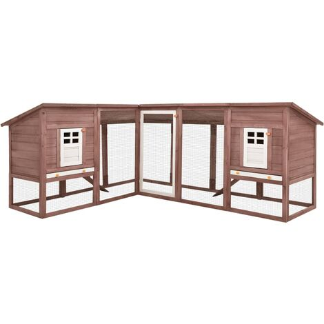 Outdoor Rabbit Hutch with Run Mocca and White Solid Fir Wood